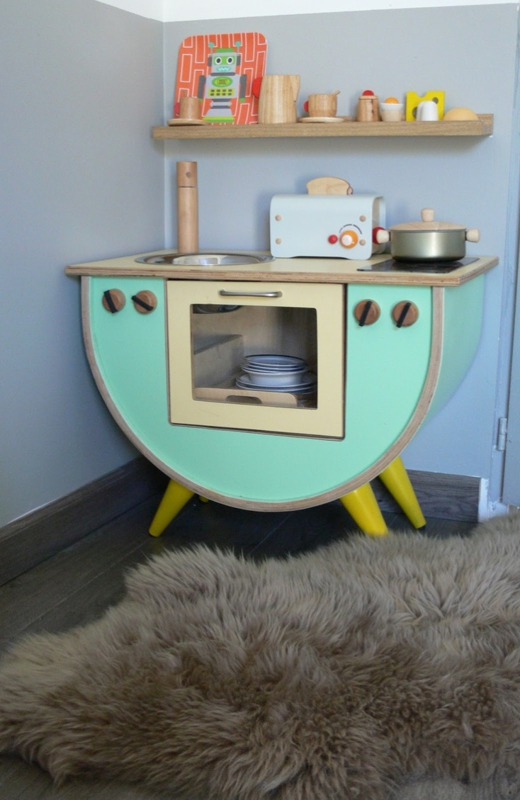 Mid century modern kids play kitchen
